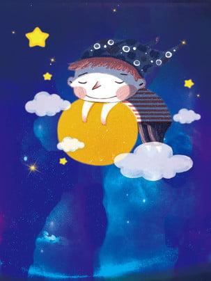 Cartoon dễ thương thiết kế nền đêm đầy sao Phim Hoạt Hình Hình Nền