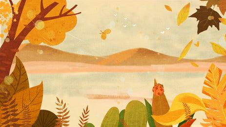 Festival de dibujos animados frío rocío lago agua arbusto fondo diseño Dibujos animados Términos solares Otoño Rocío Solares Otoño Rocío Imagen De Fondo