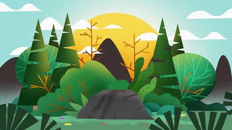 Мультяшный свежий милый лес восход фон мультипликация цвет прекрасный пресная Иллюстрация фон лес деревья завод восход солнца солнце Рекламный фон Справочный фон Фоновое изображение