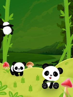 Cartoon thiết kế tuyên truyền gấu trúc xanh Nền Xanh Phim Hình Nền