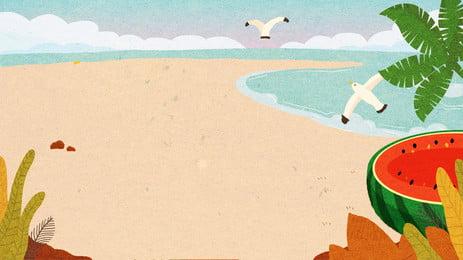 Cartoon Hand Drawn Beach Background Design, Cartoon Hand Drawn, Beach Background, Illustration Background, Background image