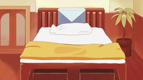 fundo de cama desenhada mão dos desenhos animados no hotel, Caricatura, Mão Desenhada, Quarto Imagem de fundo