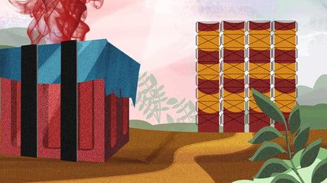 cartoon hand drawn eating chicken game background, Cartoon, Hand Painted, Game Background Background image