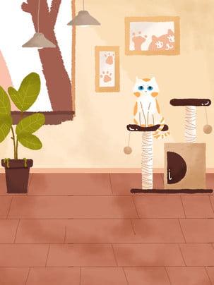 만화 손으로 그린 거실 그림 배경 , 따뜻한 배경, 인테리어 일러스트, 가정 생활 일러스트레이션 배경 이미지