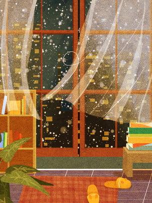 漫画の手描きの暖かい家のイラストの背景 , 家の背景, 暖かい背景, インテリアイラスト 背景画像