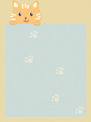 cartoon little orange cat border background material , Cartoon, Orange Cat, Hand-painted Cat Background image