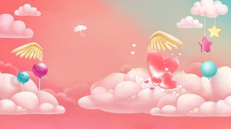 漫画のロマンチックなピンクの結婚式の背景 ロマンチックな 漫画 結婚する 気球 スポット 少女 ウェディングドレス 愛してる ブーケ 白 純粋な しあわせ 漫画のロマンチックなピンクの結婚式の背景 ロマンチックな 漫画 背景画像
