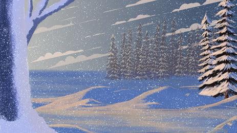 कार्टून हवा सर्दियों बर्फीली जंगल पृष्ठभूमि, हिमपात, सर्दियों की सामग्री, पृष्ठभूमि डिजाइन पृष्ठभूमि छवि