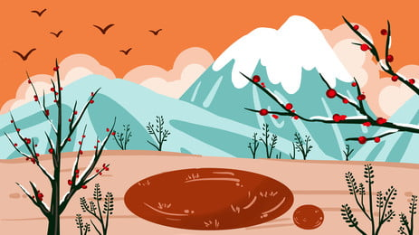 कार्टून शीतकालीन संक्रांति त्योहार परिदृश्य पृष्ठभूमि, शीतकालीन संक्रांति पृष्ठभूमि, सर्दी, शीतकालीन संक्रांति पृष्ठभूमि छवि