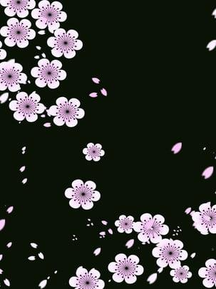 벚꽃 떨어지는 , 벚꽃 꽃잎, 꽃잎이 떨어지는, 꽃 재료 배경 이미지