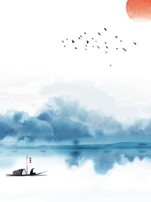 中国の水墨画絵画古代の背景 , 中国風の背景, インク風景の背景, 古風な背景 背景画像