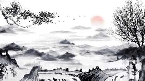 حبر صيني، تصوير زيتي، أهل القرية، الخلفية, أبيض وأسود, خلفية التوضيح, النمط الصيني صور الخلفية
