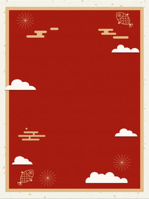 chinese new year red clouds festive background display board design , Spring Festival, Chinese Style, Red Background image