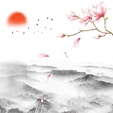 中国風墨ランドスケープ文化の背景 , 景観, 中国の風景, 中華風 背景画像