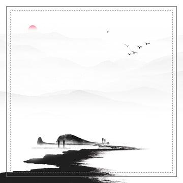 中國風水墨畫直通車圖背景 , 中國風, 山水畫, 水墨畫 背景圖片