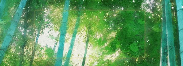 中國風水墨水彩綠色竹林簡約唯美背景, 背景, 簡約, 唯美 背景圖片
