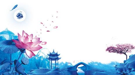 中國風荷花亭廣告背景, 廣告背景, 蓮花, 清新 背景圖片