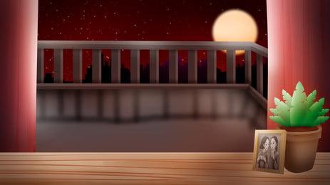 中國風中秋亭子賞月背景設計, 中秋節背景, 中國風背景, 插畫背景 背景圖片