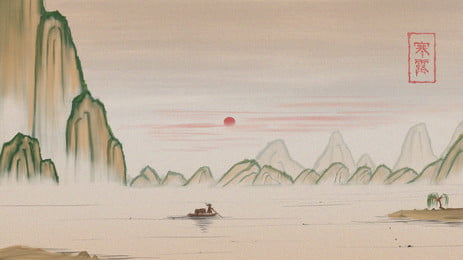 Chinese style painting distant mountain background material, Far Mountain, Landscape, Cold Dew Background image