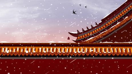 चीनी हवा घर wind चित्रण पृष्ठभूमि डिजाइन, चीनी शैली, चित्रित, कंगनी पृष्ठभूमि छवि