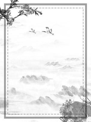 चीनी पवन स्याही क्रेन आड़ू फूल शाखा परिदृश्य पृष्ठभूमि , चीनी शैली, स्याही, आड़ू का फूल पृष्ठभूमि छवि