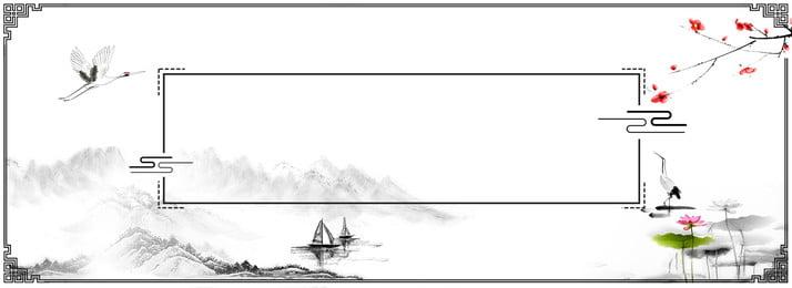 中国風の風景ボーダークレーンの背景, ロータス, インク, クレーン 背景画像