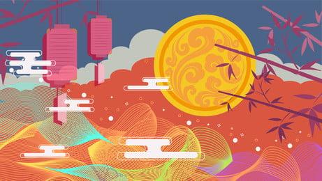 中國風彩繪中秋節背景設計 彩繪背景 中國風背景 中秋節背景背景圖庫