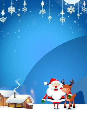 크리스마스 배경 블루 눈송이 엘크 작은 집 , 크리스마스 배경, 눈송이, 블루 크리스마스 배경 배경 이미지