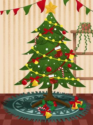 Giáng sinh trang trí cây Giáng sinh nền minh họa Phong cách trung Nền Giáng Sinh Hình Nền