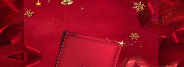 크리스마스 빨간색 축제 배너 배경, 눈송이, 황금 종, 크리스마스 배경 이미지