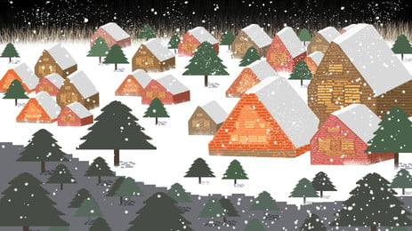 Christmas Winter Snow House Background Design, Christmas, Winter, Illustration Background, Background image
