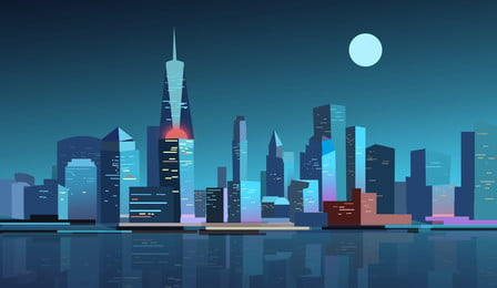 City Silhouette Illustration Background Design Silhouette,city ​​building,architectural Background,illustration, Background, Cartoon, Reflection, Background image