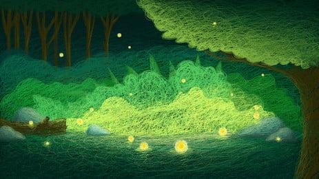 coil melukis latar belakang hutan hijau yang indah, Latar Belakang Gegelung Gegelung, Petang, Latar Belakang Hutan Cahaya Hijau imej latar belakang