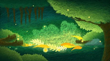 bức tranh cuộn thuốc rừng và hệ động vật nhỏ nền, Màu Nền, Hệ Thống Cứu Nền, Bức Tranh Nền Cuộn Dây Ảnh nền