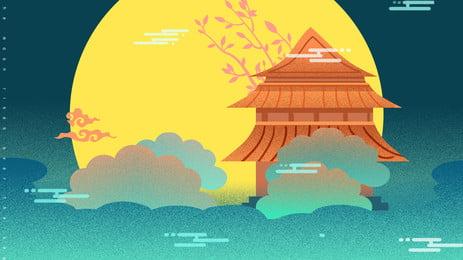 化彩色中國風中秋節背景 彩色背景 卡通 可愛背景圖庫