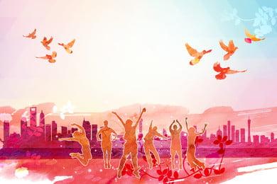 रंगीन जयकार भीड़ विज्ञापन पृष्ठभूमि, विज्ञापन की पृष्ठभूमि, उड़ता हुआ पक्षी, मकान पृष्ठभूमि छवि