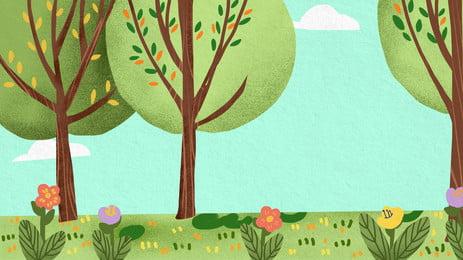 màu nền thiết kế cây dễ thương tết thiếu nhi, Psd Nền, Tết Thiếu Nhi Nền, Hoạt Hình Ảnh nền