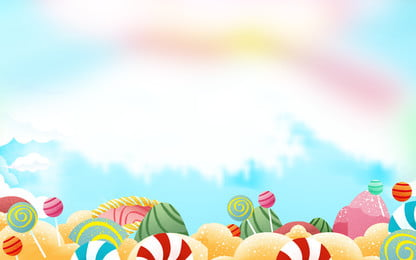 colorful cute sky candy childrens day background, Colorful Background, Hand Painted Background, Holiday Background Background image