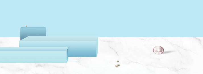 冷色調簡約藍色白色banner背景, 藍色, 白色, 長方體 背景圖片