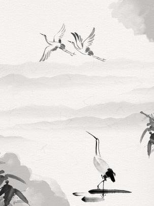 クレーンクレーン竹古代の背景 , クレーン, 竹, 山脈 背景画像