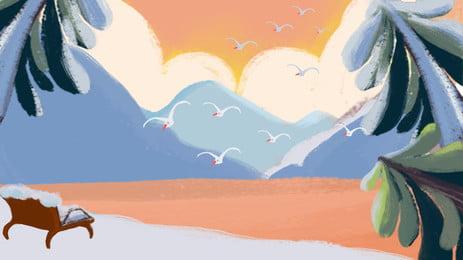 クリエイティブな手描きの冬祭りの背景素材 クリエイティブ 手描き 冬の季節 木 24ソーラーターム ? バックグラウンド 立立背景 背景素材 広告背景素材 クリエイティブな手描きの冬祭りの背景素材 クリエイティブ 手描き 背景画像
