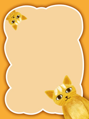 creative sen cat cute border theme background , Creative, Frame, Yellow Background image