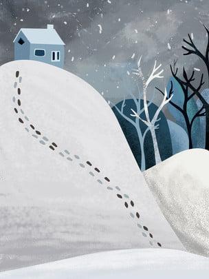 Dấu chân mùa đông sáng tạo vật liệu nền mùa đông Sáng tạo Dấu chân Tuyết Cây đông Người đông Hình Nền