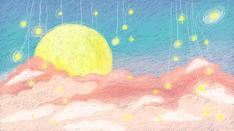 fundo de paisagem bonito mão desenhada meteoro lua, Ilustração De Bobina, Linda, Bom Dia Imagem de fundo