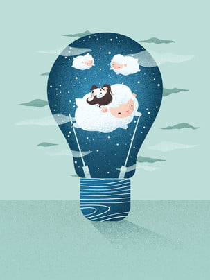cute light bulb kid advertising background , Advertising Background, Light Bulb, Child Background image