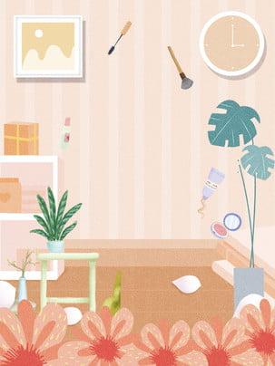 日常護理背景設計 時鐘 花朵 植物背景圖庫