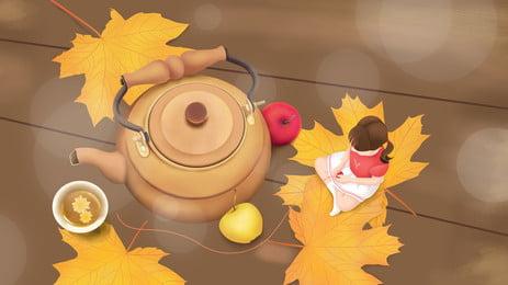 Ấm trà rụng lá trên sàn nhà cô bé hoạt hình nền Lá Vàng Mùa Hình Nền