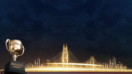 ディープブルーの大気工事会社年次総会の背景, 年次総会の背景, アワードパーティー, トロフィー 背景画像