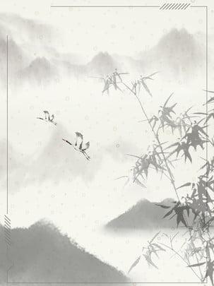 砂漠の孤独なマウンテンクレーンビンテージ背景 砂漠の山 インクの背景 竹 背景画像