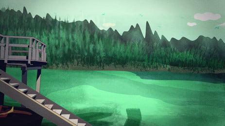 Мечта озеро дизайн иллюстрации фона воды Рисованной зеленый Фэнтезийный фон Иллюстрация фон Водный Рисованной зеленый Фэнтезийный Фоновое изображение